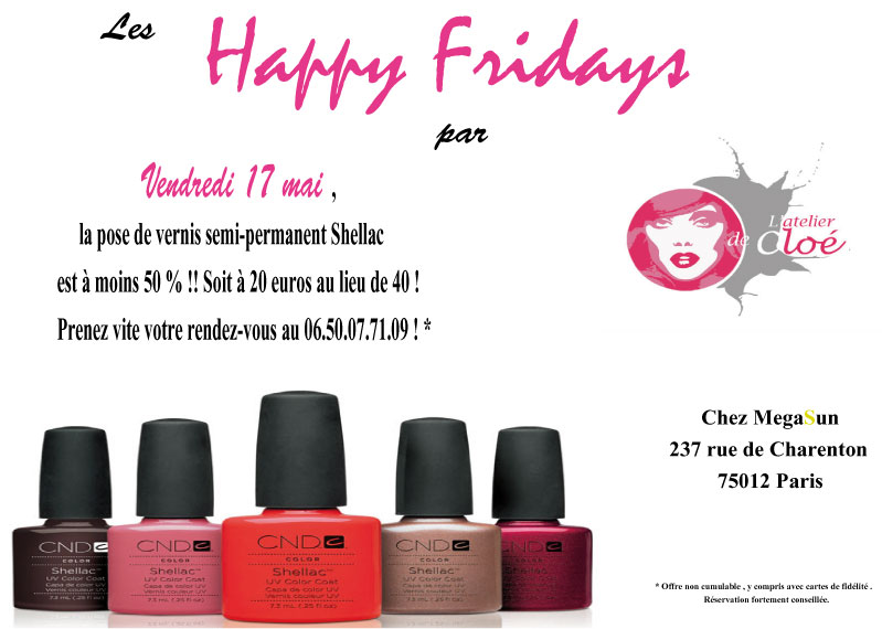 L'Atelier de Cloé lance les Happy Fridays ! Profitez-en !